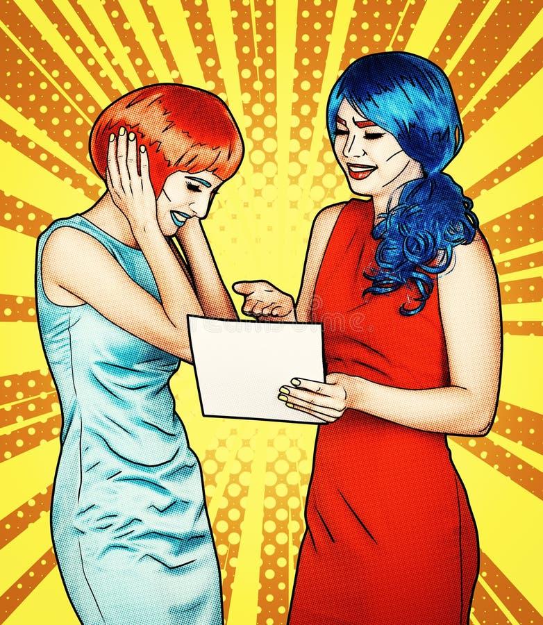 Porträt von jungen Frauen in der komischen Pop-Arten-Make-upart Frauen lesen Brief lizenzfreies stockbild