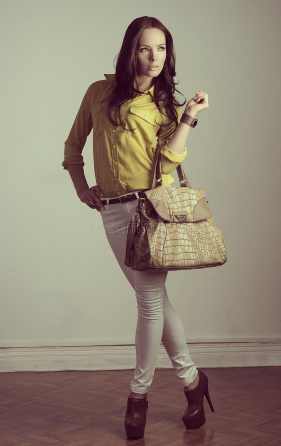 Porträt von Mode Brunette stockfotografie