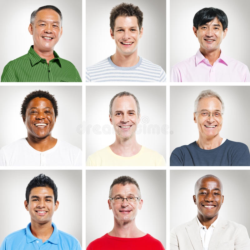 Porträt von Multiethnics-Leuten in Folge stockfotos