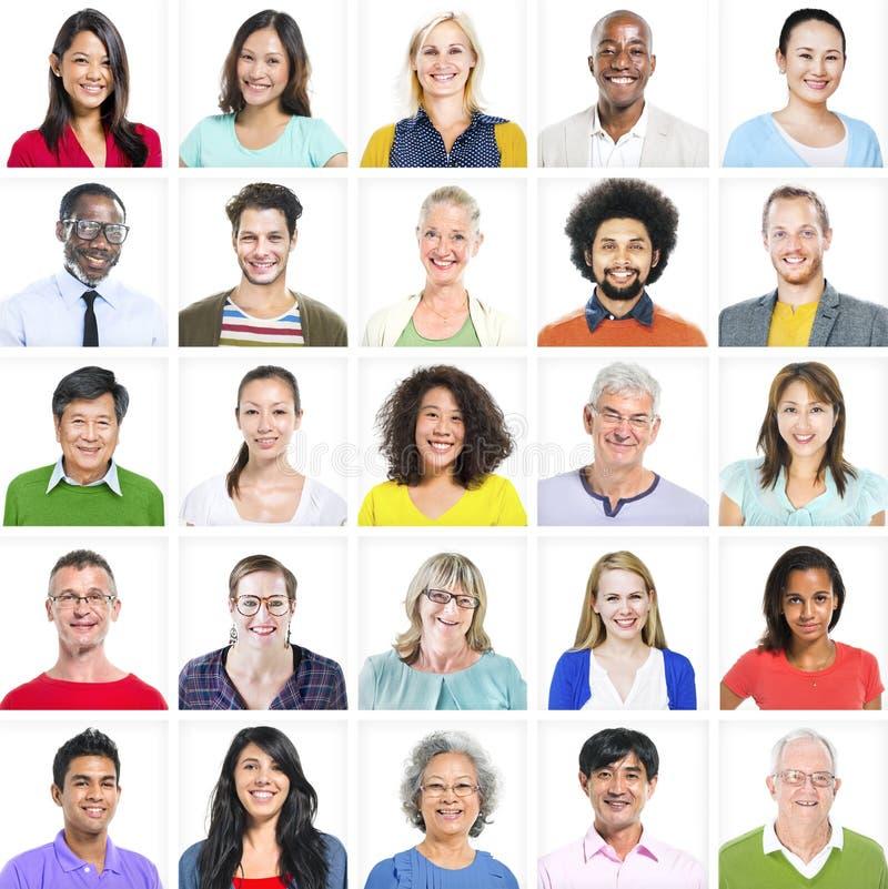Porträt von multiethnischen bunten verschiedenen Leuten stockbilder