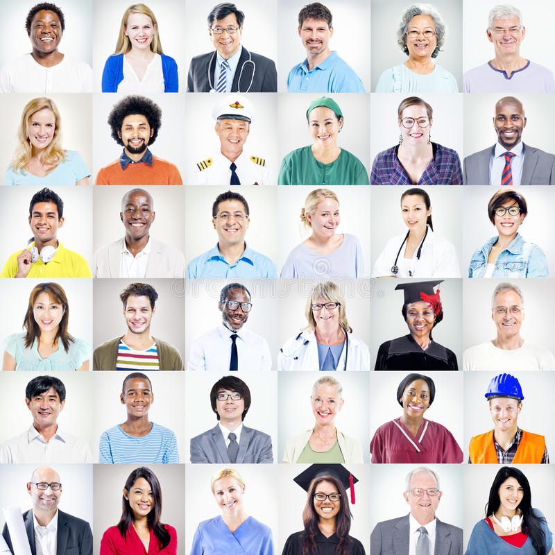 Porträt von multiethnischen Mischbesetzungs-Leuten lizenzfreies stockbild