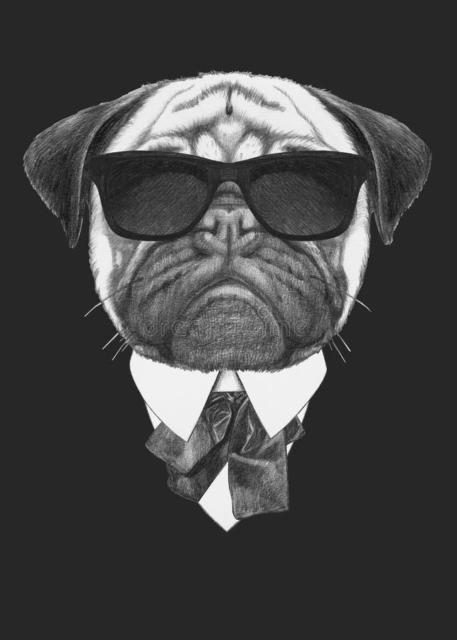 Porträt von Pug in der Klage lizenzfreie abbildung
