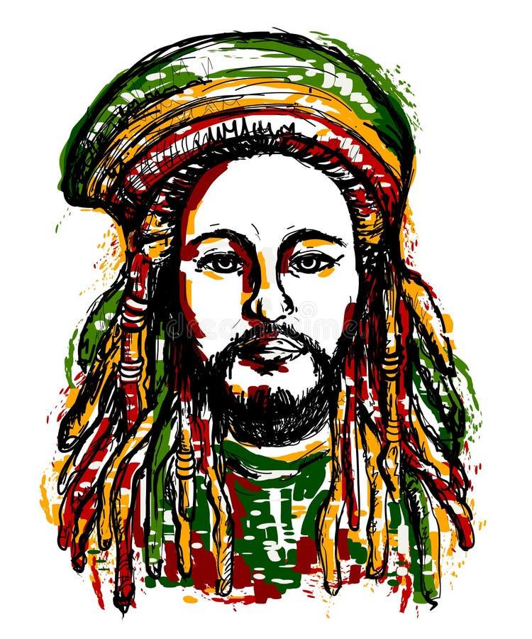 Porträt von rastaman Jamaika-Thema Reggaekonzeptdesign Tätowierung Art stock abbildung
