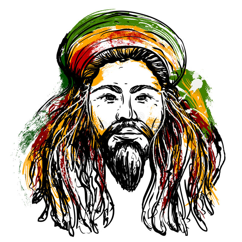 Porträt von rastaman Jamaika-Thema Reggaekonzeptdesign Tätowierung Art Hand gezeichnete Schmutzartkunst stock abbildung