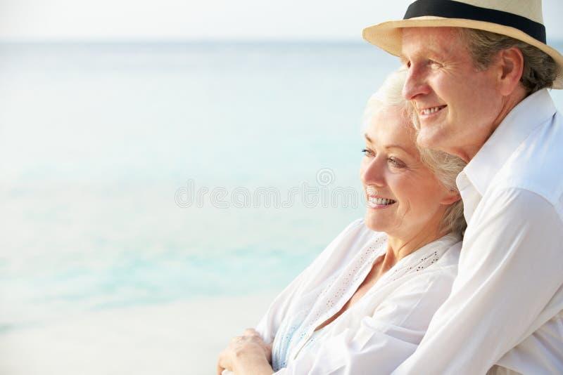 Porträt von romantischen älteren Paaren auf Strand lizenzfreies stockbild