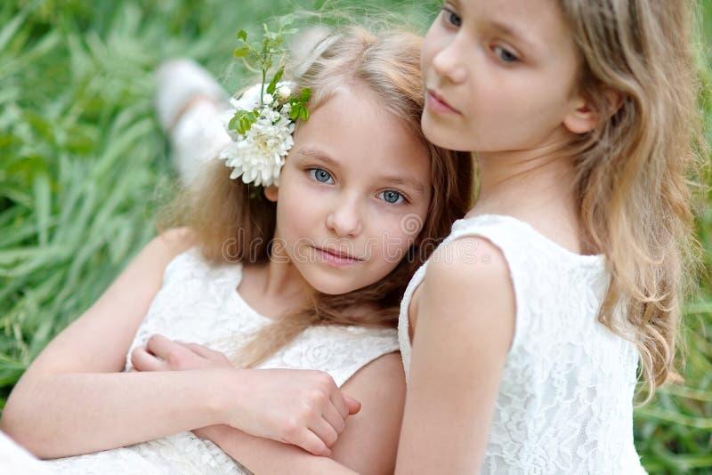 Porträt von Schwestern der kleinen Mädchen lizenzfreies stockbild
