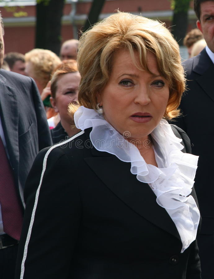 Porträt von Valentina Matvienko, einer der berühmtesten zeitgenössischen weiblichen Politiker lizenzfreie stockfotografie