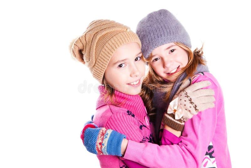 Porträt von zwei jungen schönen Mädchen lizenzfreies stockfoto