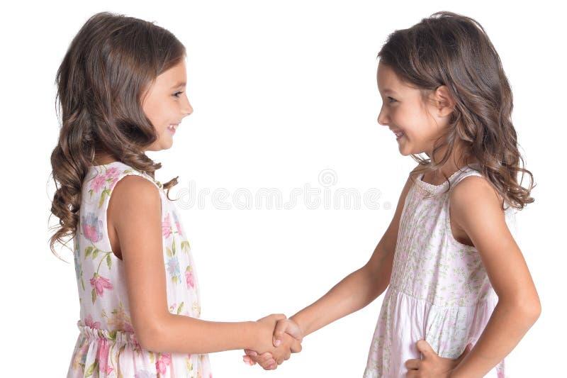 Porträt von zwei schönen kleinen Mädchen auf weißem Hintergrund stockbild