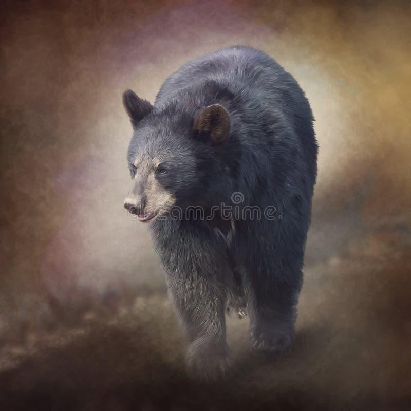 Porträtaquarellmalerei des schwarzen Bären stockbild