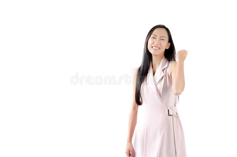 Porträtfoto der asiatischen Frau mit glücklichem Ausdruckgesicht und -lächeln lizenzfreies stockbild