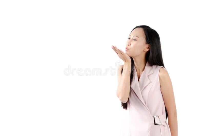 Porträtfoto der asiatischen Frau mit reizendem Ausdruckgesicht lizenzfreie stockfotos