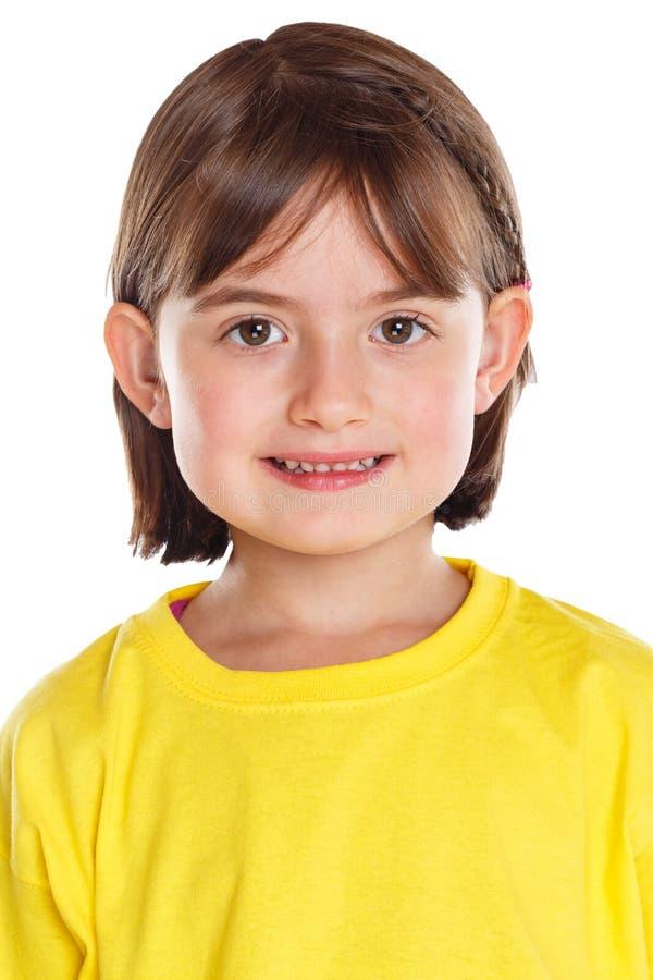 Porträtgesicht des Kinderkinderkleinen Mädchens lokalisiert auf Weiß lizenzfreies stockfoto