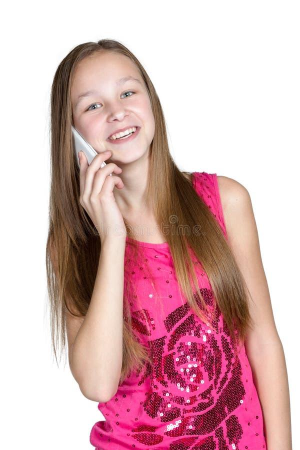 Porträtmädchen mit Handy stockbild