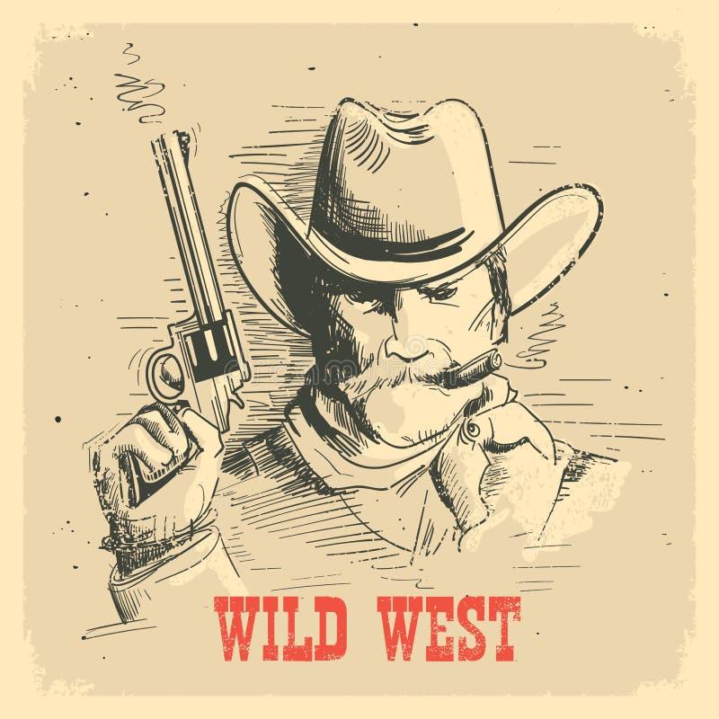 Porträtmann im Cowboyhut mit Gewehr Wildes altes Westplakat des Pistolenheldes vektor abbildung