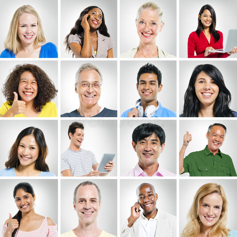 Porträts des Multiehnic-Gruppe von Personenen-Lächelns stockfotografie