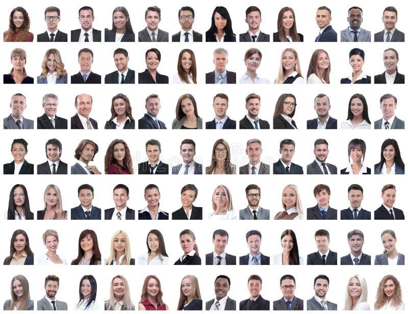 Porträts von den erfolgreichen Angestellten lokalisiert auf einem Weiß stockfotografie