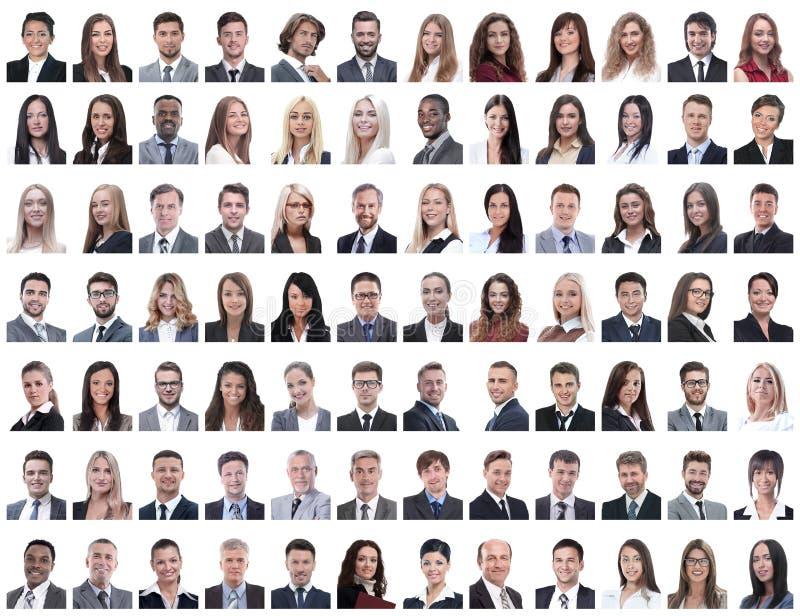 Porträts von erfolgreichen Angestellten auf einem Weiß stockfotografie