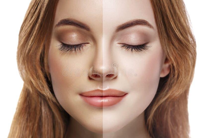 Porträtspray des halben Gesichtes der Frauensonnenbräune schöner lizenzfreie stockfotos