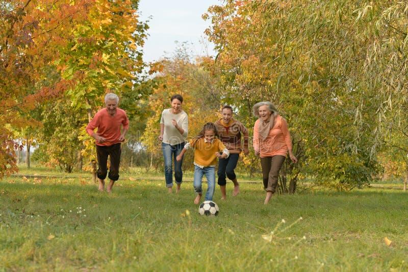 Portr?t der gro?en gl?cklichen Familie, die Fu?ball im Park spielt stockbilder