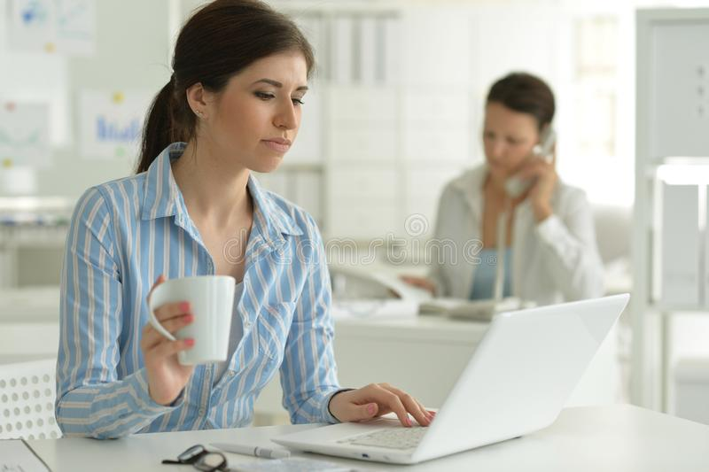 Portr?t der jungen attraktiven Frau, die mit Laptop im B?ro arbeitet lizenzfreie stockfotografie