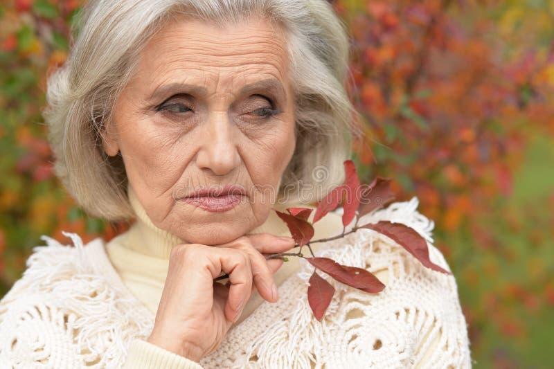 Portr?t der traurigen ?lteren Frau im Herbstpark lizenzfreies stockfoto