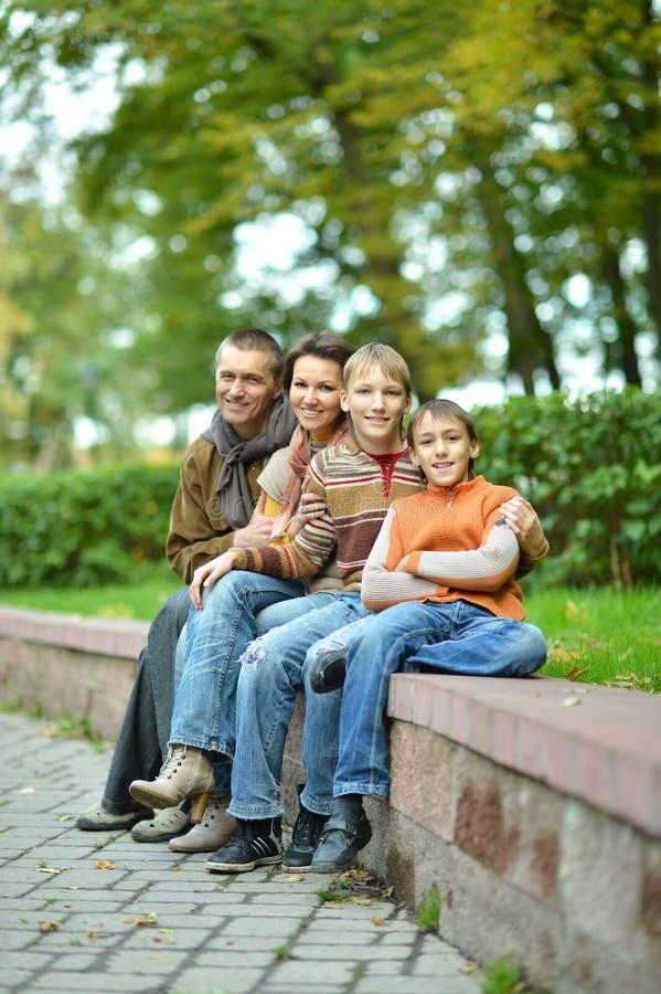 Portr?t der vierk?pfiger Familie sitzend im Park stockfotos