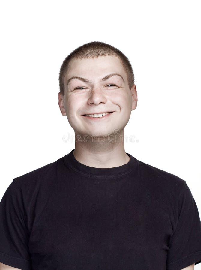 Portr?t des jungen Mannes Lustiges Gesicht Überraschung und autistisches Gesicht stockbilder