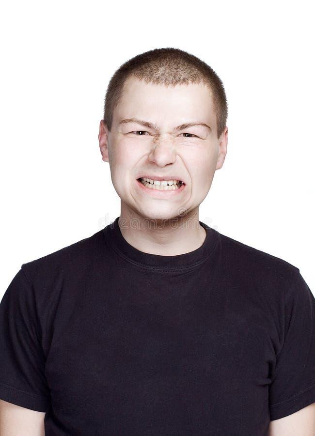 Portr?t des jungen Mannes Lustiges Gesicht Zahngesicht stockbilder