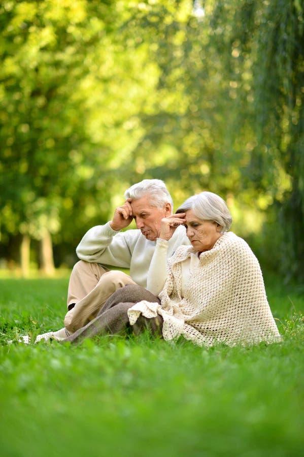 Portr?t des Liebens von den ?lteren Paaren, die auf gr?nem Gras im Sommerpark sitzen stockfotografie