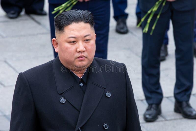 Portr?t des Sekret?rs General des DPRK Nordkorea Kim Jong Un stockbild