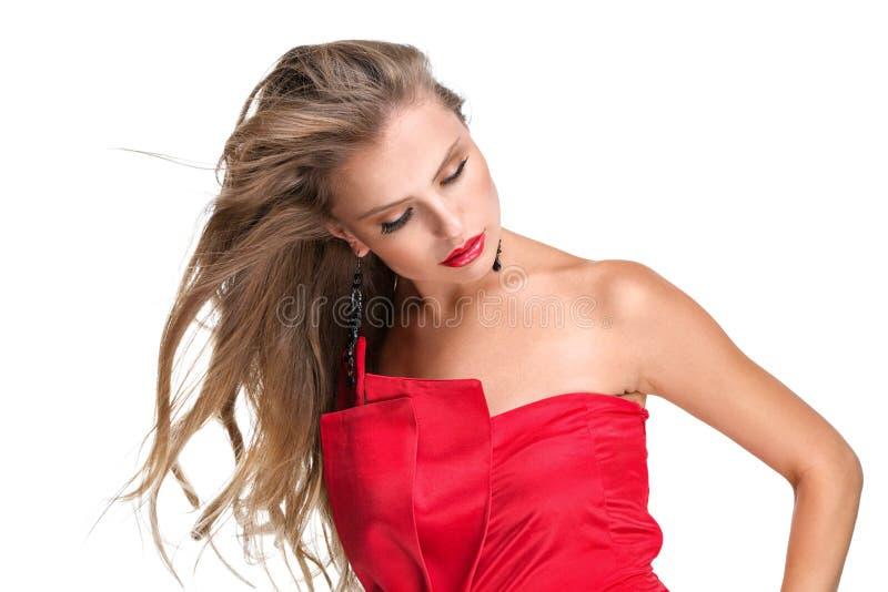 Portr?t einer jungen Frau mit dem langen gesunden Haar lizenzfreie stockfotografie