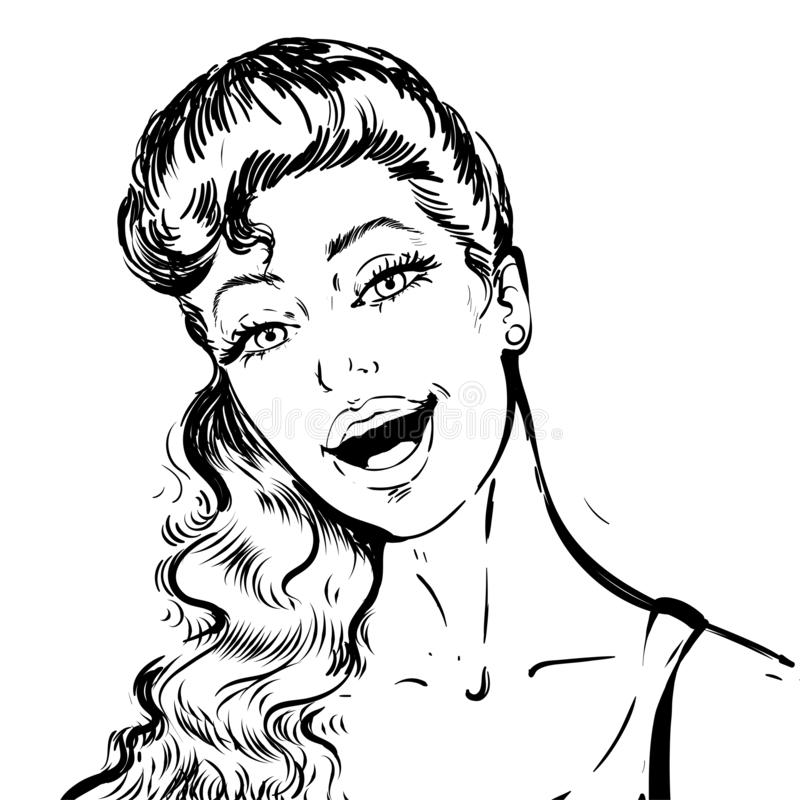Portr?t einer sch?nen jungen Frau mit der offenen Mundunterhaltung Schwarzweiss-Skizzenporträt stock abbildung