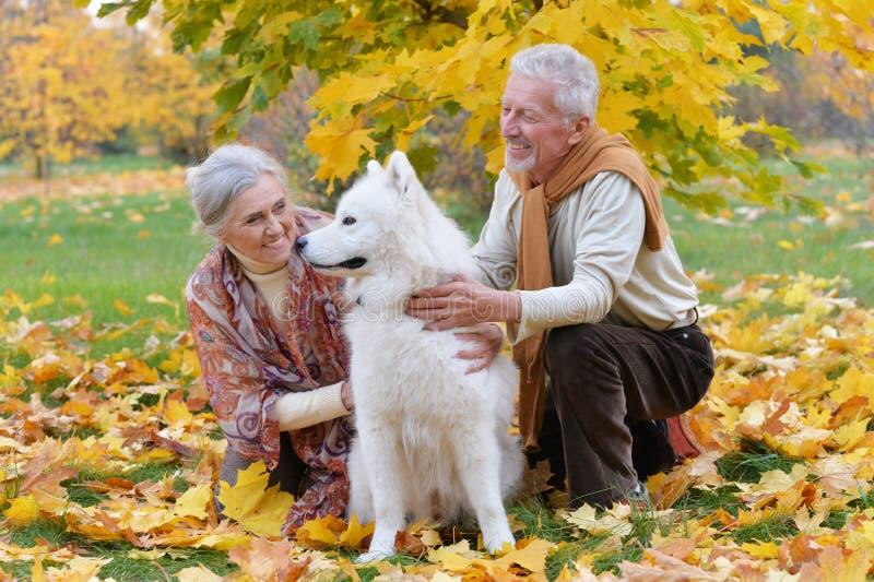 Portr?t von gl?cklichen ?lteren Paaren im Herbst parken lizenzfreies stockfoto