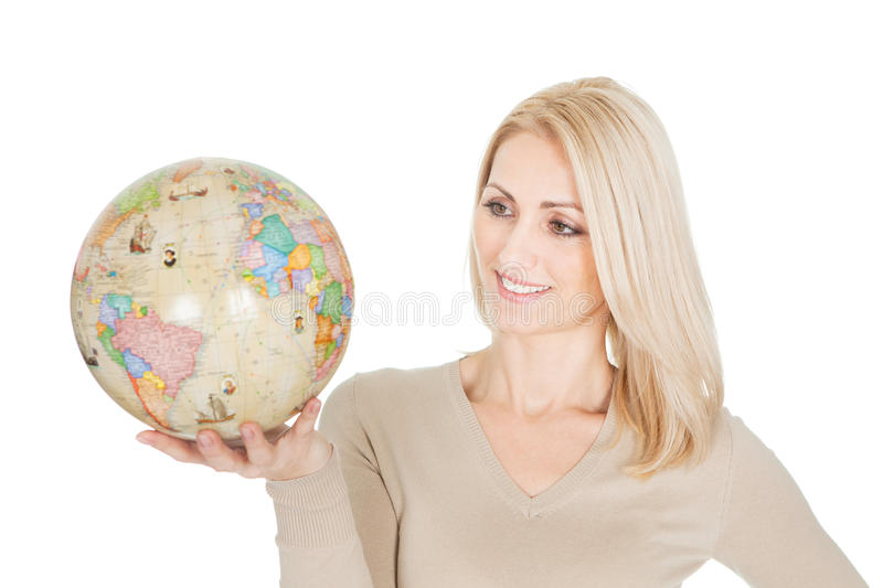 Download Portrail Of Beautiful Woman Holding A Globe Stock Image - Image: 23082221