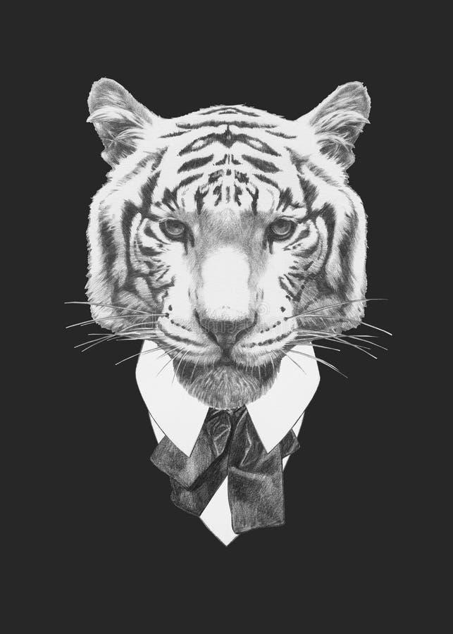 PortraiPortrait della tigre in vestito illustrazione vettoriale