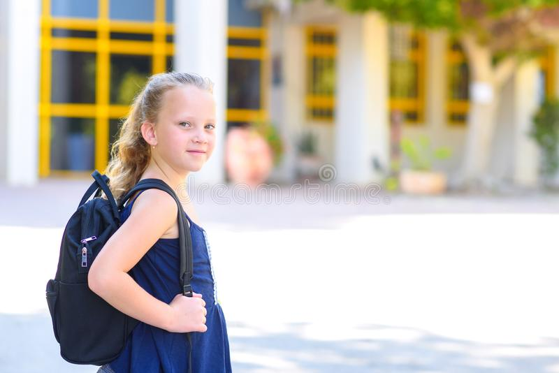 Portrair Happy smiling kid Back to school. royalty free stock images