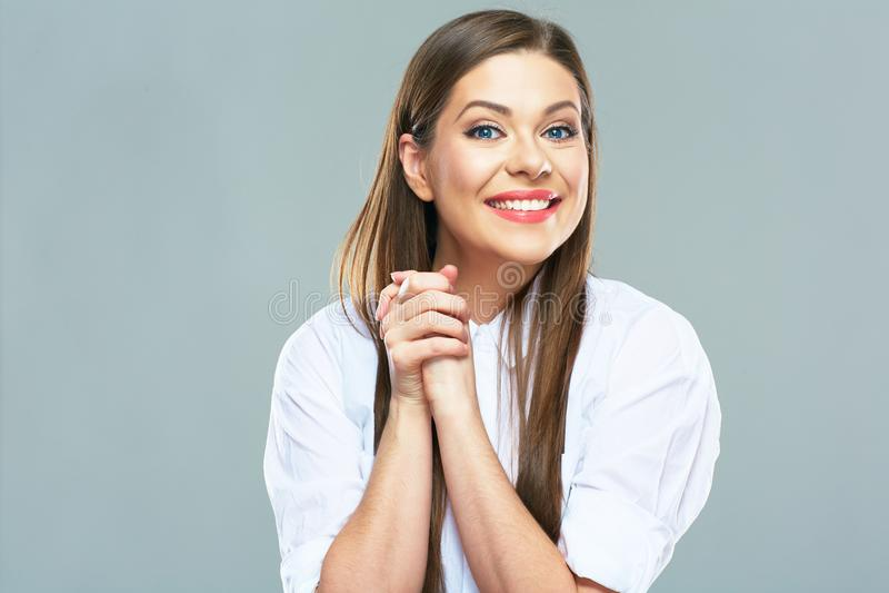 Portrait émotif positif de jeune femme d'affaires images libres de droits