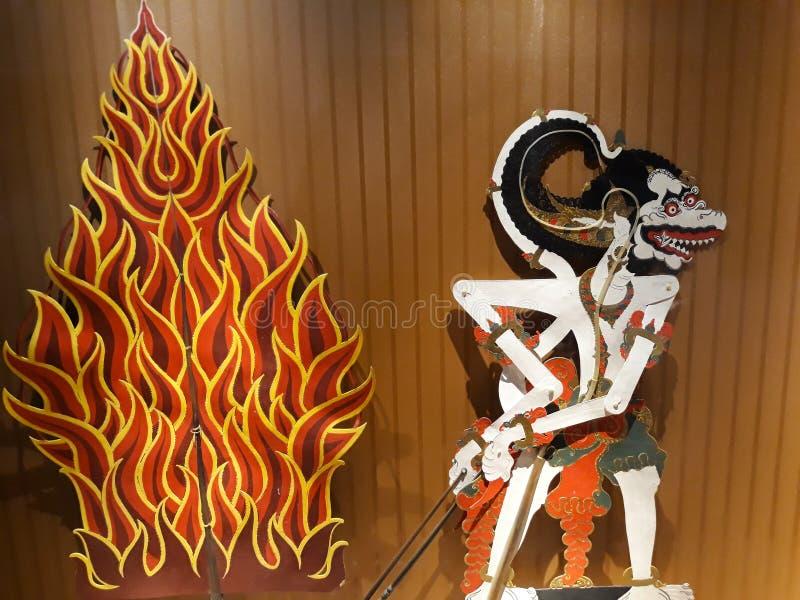 Portrait étroit sur la marionnette dans le vieux musée de marionnette de ville de Jakarta image libre de droits
