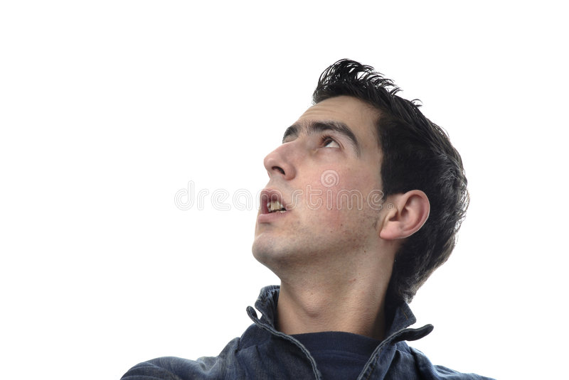 Portrait. Young casual man portrait in a white background stock photography