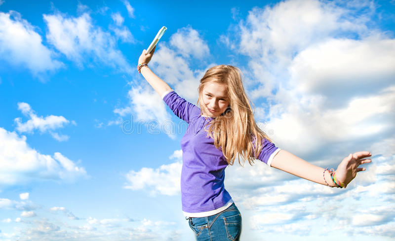 Download Portrait stock photo. Image of clouds, enjoying, expression - 26390476