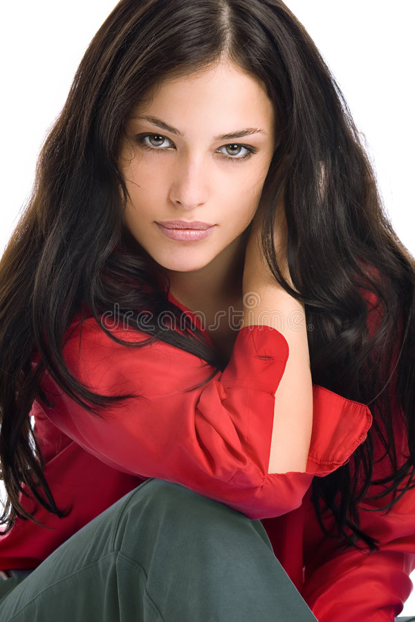 Portrait. Young black hair woman portrait in red shirt