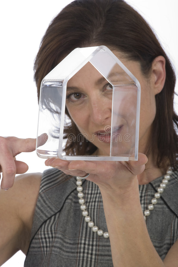 Portrait Of 40s Woman With A Transparent House Stock Photos