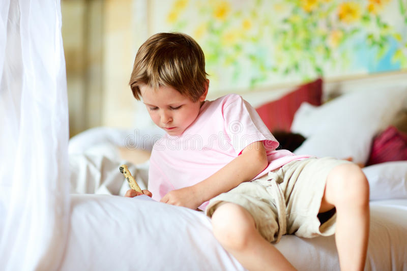 Download Portrait Of 5 Years Old Boy At Home Stock Image - Image: 16108559
