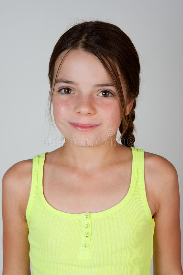 Portrait Of A 9 Year Old Girl Stock Photo