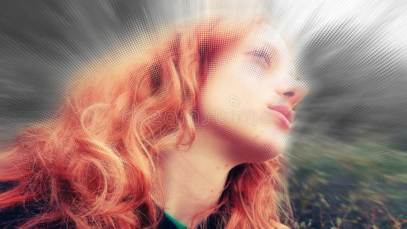 Portrait Abstract Teen Girl Fantasy stock images