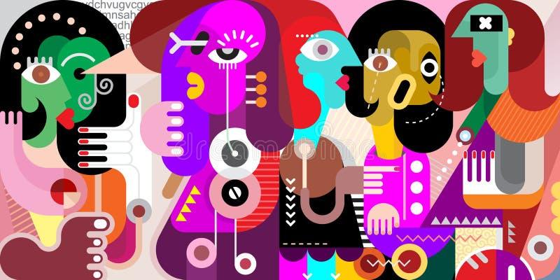 Portrait abstrait de cinq personnes illustration de vecteur