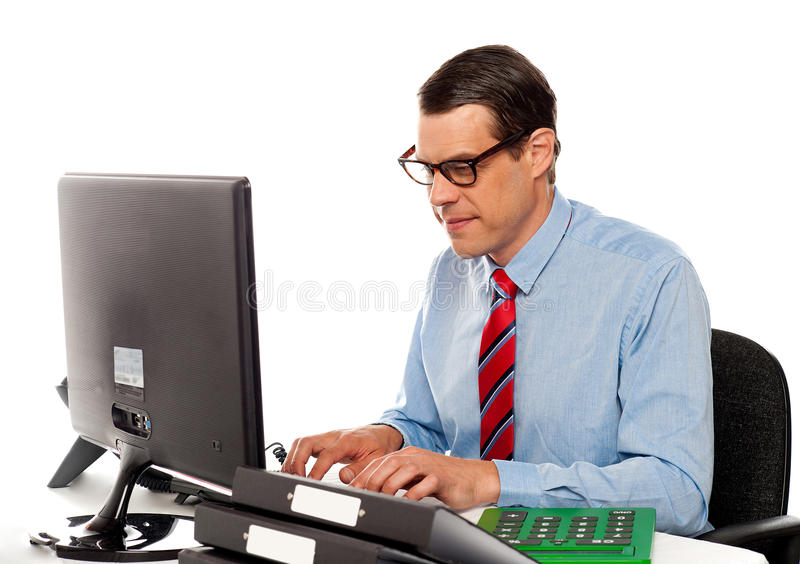 Download Portrait Of An Accountant Working On Computer Stock Photo - Image: 25883660
