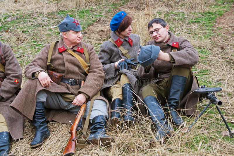 Portrait of actors dressed as Russian Soviet soldier of World War II in military-historical reconstruction in Volgograd stock photo