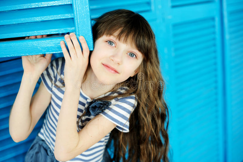 Portrait of adorable child girl with long hair stock images